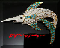 Vintage Enamel Turquoise Beads Sword Fish Brooch