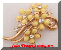 Vintage Yellow Flowers Rhinestones Brooch