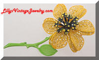 Vintage Yellow Green Enamel Flower Power Brooch