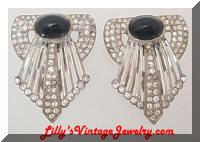 Art Deco Black Cabs Rhinestones Dress Clips