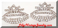 Vintage Rhinestones Crowns Shoe Clips
