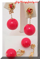 Vintage 1968 Red Bead Dangling Drop Floral Earrings