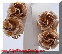 Vintage Gold tone Roses Clip-on Earrings