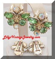 Vintage Golden Pastel Rhinestones Earrings