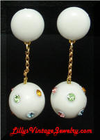Austria white drop rhinestones ball earrings