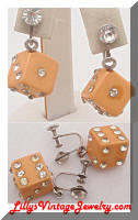 Vintage Bakelite Cream Rhinestones Dice Dangle Earrings