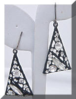 Vintage Deco Style Japanned Rhinestones Dangle Earrings