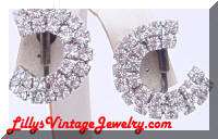 Vintage  Circular Rhinestones Convertible Earrings