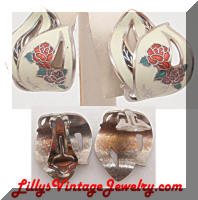 Cloisonne White Floral Vintage Hoop Earrings