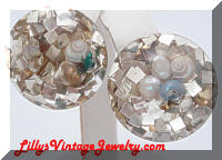 Vintage Confetti Shells Button Earrings