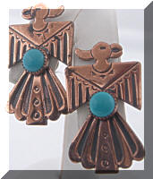 Vintage Native American Thunderbird Copper Earrings