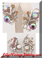 vintage Coro AB rhinestones leaf earrings