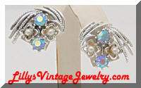 Vintage CORO AB Rhinestones Pearls Floral Earrings