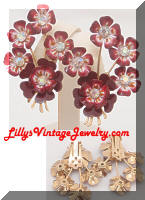 Vintage CORO Red Enamel AB Flowers Earrings
