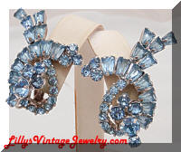 DeLizza and Elster JULIANA Blue Rhinestones Earrings Climbers