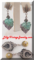 Dangling Enamel Grapes Post Earrings