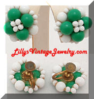 Vintage Green Milk Glass Beads Earrings