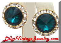 Stunning Green Rivoli Clear Rhinestones Earrings