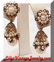 Vintage faux Pearls Rhinestones Haskell-ish Drop Earrings