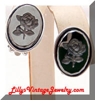 Vintage Hematite Rose Intaglio Earrings