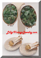 Vintage HOBE Green Pebbles Earrings