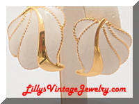 JS Golden Cream Enamel Earrings
