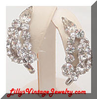 DeLizza and Elster Clear Rhinestones Wire Over Leaf Earrings