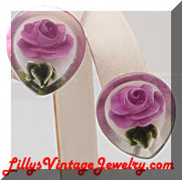 Vintage Lucite Purple Flowers Earrings