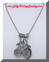 Vintage Modernist Silver tone Apple Blossom Flowers Pendant Necklace