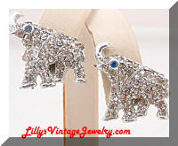 Vintage OLEET Rhinestones Elephant Earrings