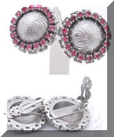 Vintage Silver tone Pink Rhinestones Button Earrings