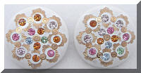 Vintage White Plastic Multi Colored Rhinestones Button Earrings