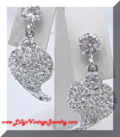 Vintage Gorgeous Rhinestones Hearts Dangle Earrings