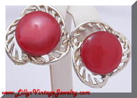 Vintage Red Plastic Button Earrings