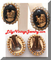 Vintage Gold Black Glass RickShaw Rhinestones Earrings