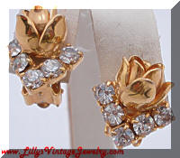 Gold tone Roses Over Rhinestones Earrings