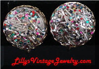 Sarah COVENTRY Confetti Button Vintage Earrings