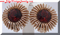 Vintage Gold tone Burst Topaz Rhinestones Earrings