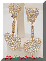 Rhinestones Large Shoulder Duster Hearts Earrings