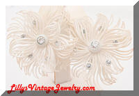 Vintage W. GERMANY White Plastic Floral Rhinestones Earrings