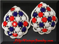 Vintage WEISS Patriotic Rhinestones White Enamel Earrings