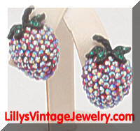 Vintage AB Red Rhinestones Strawberry WEISS Earrings