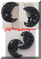 Vintage WEISS Black Japanned Rhinestones Crescent Earrings