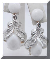 Vintage White Plastic Drop Dangle Silver tone Earrings