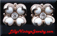 Vintage Heart Flowers Rhinestones Earrings