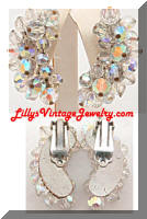 Vintage AB Crystals Cluster Crescent Earrings