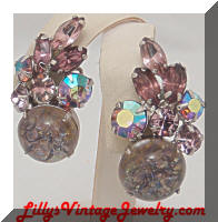 Vintage Lavender Rhinestones Confetti Earrings