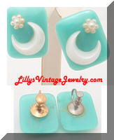 Vintage Aqua Plastic Moon Floral Earrings