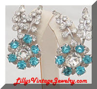 Quality Vintage Aqua Rhinestones Flower Spray Earrings Climbers