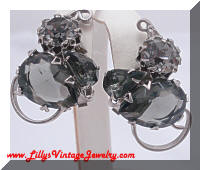 Designer Quality Black Diamond Rhinestones Vintage Earrings